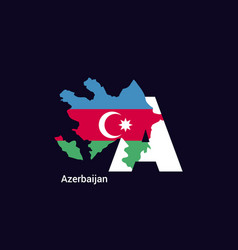 Azerbaijan initial letter country with map vector