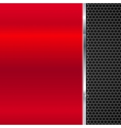background polished red metal and black mesh vector image