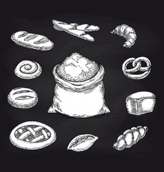 bakery products collection on chalkboard vector image