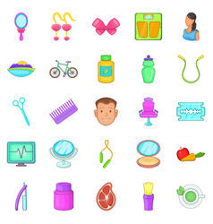 Beauty saloon icons set cartoon style vector