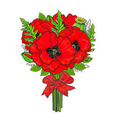 Big bunch of red poppy flowers tied with ribbon vector