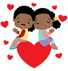 Black boy and black girl sitting on a big heart vector