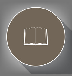 book sign white icon on brown circle with vector image