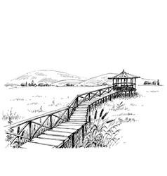 bridge over meadow to watchtower sketch vector image