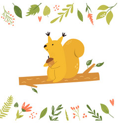 bright floral card with cute squirrel on a branch vector image