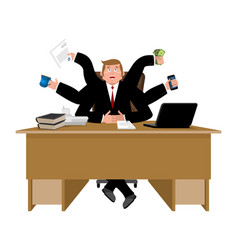businessman and lots of hands performing many vector image