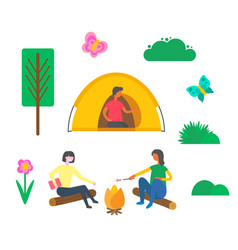 camping people man sitting in tent women outdoors vector image