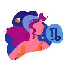 Capricorn woman zodiac icon vector