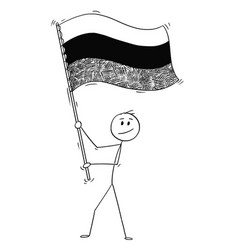 cartoon of man waving the flag of russian vector image