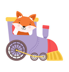 Cheerful red cheeked fox driving toy wheeled train vector
