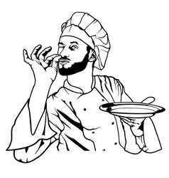Chef gesture delicious and holding a plate vector