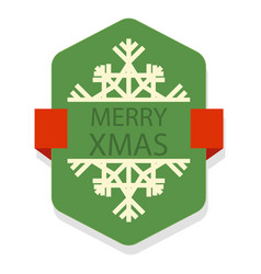 Christmas green badge image vector