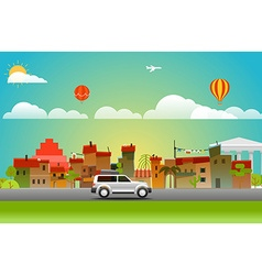 Cityscape with different vehicle vector image