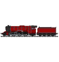 Classic red steam locomotive vector