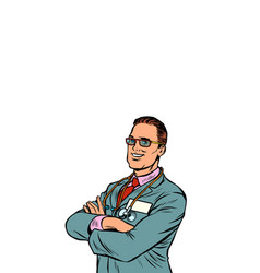 confident businessman crossed his arms vector image