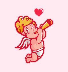 Cupid playing trumpet vector