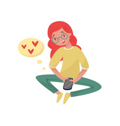 cute red-haired girl texting reading love messages vector image
