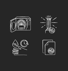 Disinfection equipment chalk white icons set vector