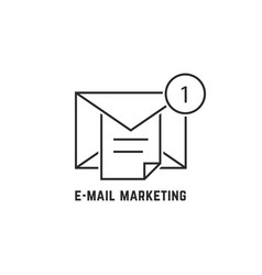 e-mail marketing with thin line notice vector image