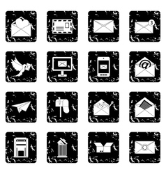 Email set icons grunge style vector image