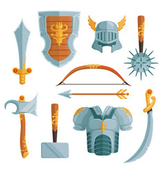 Fantasy weapons in cartoon style vector