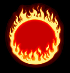 Fiery ring banner and frame on black background vector