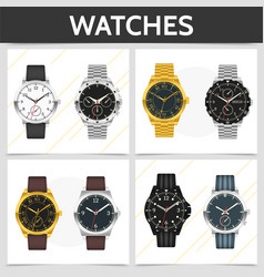 flat classic expensive watches square concept vector image