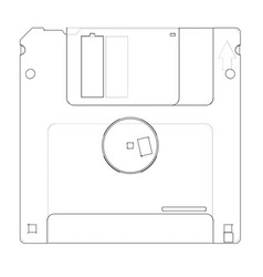 Floppy disk storage sketch vector