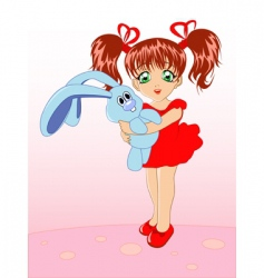girl and toy rabbit vector image