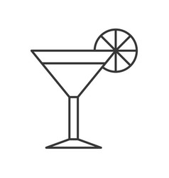 Glass of juice or cocktail icon outline vector