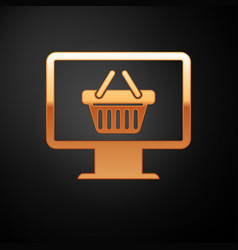 Gold computer monitor with shopping basket icon vector