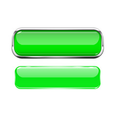 Green glass buttons web 3d shiny rectangle icons vector