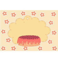 greeting card with cake vector image vector image