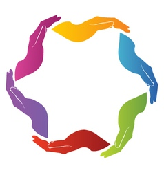 Hands unity teamwork vector image