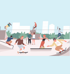 happy teenage boys and girls or skateboarders vector image