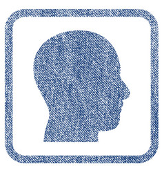 Head profile fabric textured icon vector