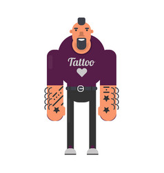 informal man with tattoes on hands and reckless vector image