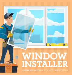 Installation window installer tool kit level vector
