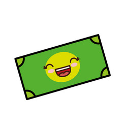 Kawaii money bill icon vector