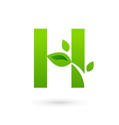 Letter h eco leaves logo icon design template vector