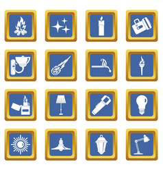 light source symbols icons set blue vector image