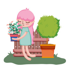 little girl lifting houseplant with tree and fence vector image