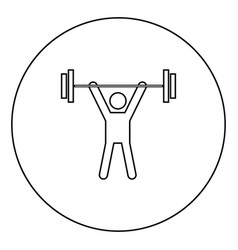 man uping weight black icon outline in circle vector image