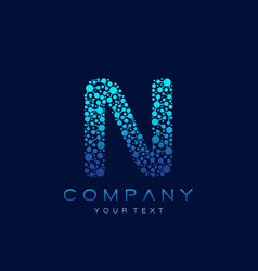 n letter logo science technology connected dots vector image