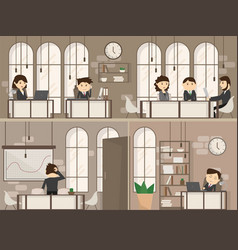 office people with office desk and business vector image