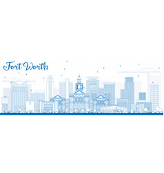 Outline fort worth skyline with blue buildings vector