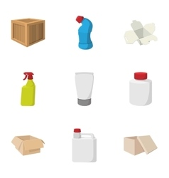 Pack icons set cartoon style vector image