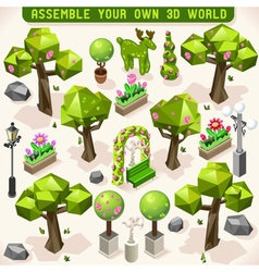 Park set lowpoly 3d isometric vector