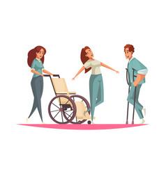 Physiotherapy cartoon composition vector