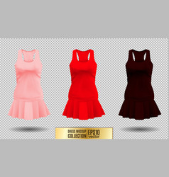 Realistic detailed 3d women dress mock up pink vector